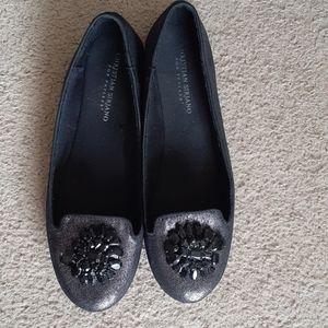 Christian Siriano Sparkly Silver & Black Flats - 9
